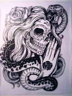 gypsy sugar skull, snake, rose