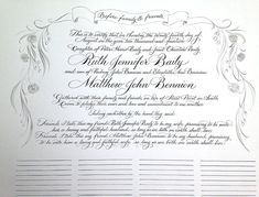 Quaker marriage certificate in calligraphy by Calligraphystore