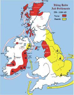 Great Map show Danish as well as the Norwegian raids and settlement (Viking Blog elDrakkar.blogspot.com)