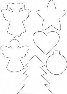 Christmas Ornament Crafts, Christmas Sewing, Felt Ornaments, Christmas Art, Felt Crafts, Christmas Crafts, Christmas Decorations, Christmas Stencils, Christmas Templates