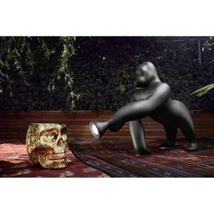 KING KONG LAMP British Shop, Life Size Statues, Modern Floor Lamps, King Kong, Colours, Ornaments, Black And White, Pink, Animals