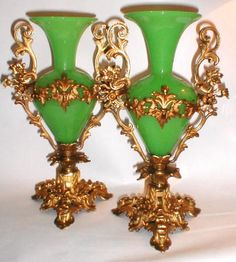 A Tall French 19th century Green Opaline Vases with Intricate Ormolu Mounts.