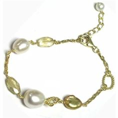 "Gold Vermeil oval chain bracelet with 8mm champagne color fresh water pearl  and citrine quartz beads. the bracelet is about 7"" with 2"" extension chain and 6mm matching  pearl in the end. It fits most. Matching earring and necklace are all available.  $20.00"