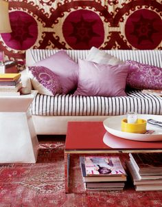 red and pink, bold living room, striped sofa, suzani wall hanging Living Room Designs, Living Spaces, Living Rooms, Purple Rooms, Farmhouse Side Table, Home Upgrades, Small Furniture, Decoration, Room Inspiration