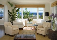 love the plants and the way the furniture is positioned with the sofas by the window.