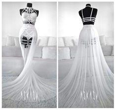 #askasu #wedding #white #design #fashion #harness #lingerie #lace #mesh #train #weddingnight #elf