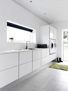 Laundry rooms are notorious for being cramped. If you need new inspiration for making over your laundry room, these laundry room ideas will help you save precious space and time. Just because you have a tiny laundry room, that doesn't… Continue Reading → Laundry Room Tile, Modern Laundry Rooms, Laundry Room Cabinets, Laundry Room Organization, Organization Ideas, Storage Ideas, Laundry Storage, Küchen Design, Layout Design