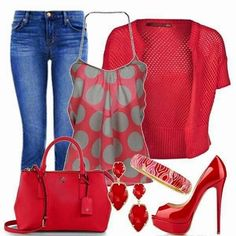 Gorgeous Combination of Red Clothings and Blue Jeans. Suitable, Red Accessories