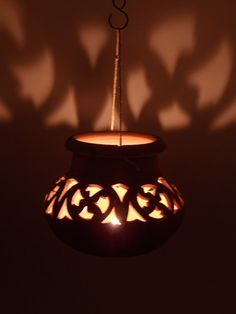 Terracotta Lantern CANDLE HOLDER medieval pattern by NovaEtruria