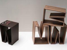 Wooden stool / coffee table NOTCH WOOD by Ex.t design Alex Bradley
