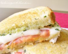 Caprese grilled cheese with basil pesto