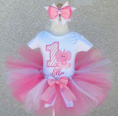 I love elephants on babies clothing!!! Baby Pink Elephant Stripes - Birthday Tutu Outfit