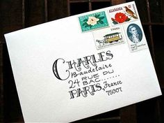 This writing, in combination with these stamps, plus the fact that it's going to Charles Baudelaire IRL. 34 Borderline Erotic Photos For People Who Love Stationery Envelope Lettering, Calligraphy Envelope, Envelope Art, Envelope Design, Typography Letters, Address An Envelope, Envelope Writing, Font Alphabet, Calligraphy Fonts