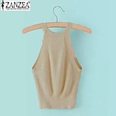 ZANZEA Women 2016 Summer Sexy Blusas Casual Short Crop Tops Ladies Knitted Halter Camisole Sleeveless Vest Tank Tops Candy Color