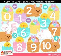 Easter Numbers Clip Art - Free!  Stop by my Etsy Shop: www.etsy.com/shop/TeoldDesign