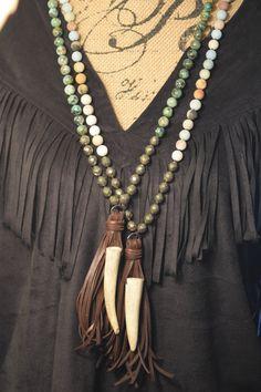 Boho Necklace, Amazonite Necklace,Deer Antler Necklace,Forked Antler Necklace, Horn Necklace, Tusk Necklace, Leather Wrapped Antler Necklace by NatnatCreations on Etsy