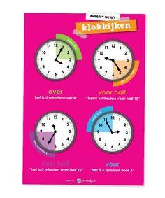 Educatieve poster, klokkijken
