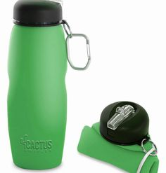 Cactus Bottle – Silicone Collapsible Water Bottle (green)