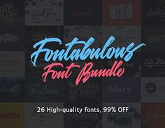 "Check out new work on my @Behance portfolio: ""The Fontabulous Font Bundle: 26 Fabulous Fonts – 99% Of"" http://be.net/gallery/51447547/The-Fontabulous-Font-Bundle-26-Fabulous-Fonts-99-Of"