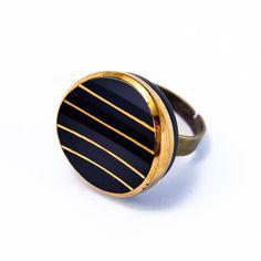 Bague bouton 1920 rayée - Assuna vintage crafts