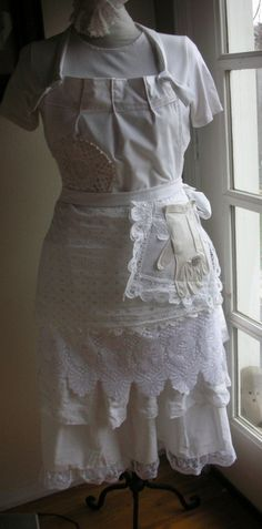 Apron - Full  Lace White Apron - Bridal Aprons - Here Comes The Bride Aprons -  Shabby Chic Aprons - French Flea Market Chic Apron. $58.95, via Etsy.