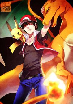 pikachu, red y charizard Pokemon Trainer Red, Pokemon Red, Pokemon Fan Art, Pokemon Tattoo, Pokemon Charizard, Play Pokemon, Pokemon Funny, Pokemon Fusion, Pokemon Cards