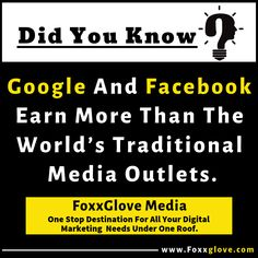 Google And Facebook Earn More Than The World's Traditional Media Outlets. The ad duopoly (Facebook and Google) tops over $117B in ad revenue, more than every newspaper, magazine, and radio network in the world combined. Follow FoxXglove Media for regular updates and #TechNews. #FoxxgloveMedia #FoxgloveConnect #DidYouKnow #SocialFacts Communication Techniques, Media Communication, Mobile Marketing, Digital Marketing, Affiliate Marketing, Social Media Marketing, Did You Know Facts, Business Website, Social Platform