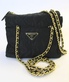 Small vintage Pada quilted bag with golden chain.