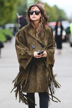 London Street Style Photos That Prove Fall Is NOT Boring #refinery29  http://www.refinery29.com/2015/09/94443/london-fashion-week-spring-2016-street-style-pictures#slide-56  Let the outerwear do the talking....