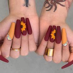 Cute Acrylic Nail Designs, Fall Nail Designs, Burgundy Nail Designs, Colorful Nail Designs, Beautiful Nail Designs, Best Nail Designs, Matte Nail Designs, Coffin Nail Designs, Colourful Nails