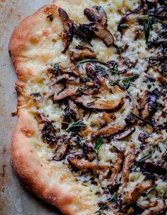 Mushroom pizza with white truffle oil and Brie