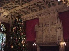 Gothic Room at Marble House, the most beautiful fireplace mantle ever! And at Chritmas time.