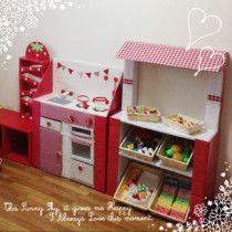 Cardboard Kitchen, Cardboard Toys, Cardboard Furniture, Diy Play Kitchen, Kids Patterns, Diy Toys, Kids And Parenting, Diy For Kids, Playroom