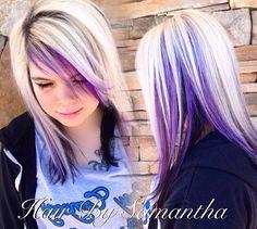 Icy blonde with black underneath and purple peekaboos