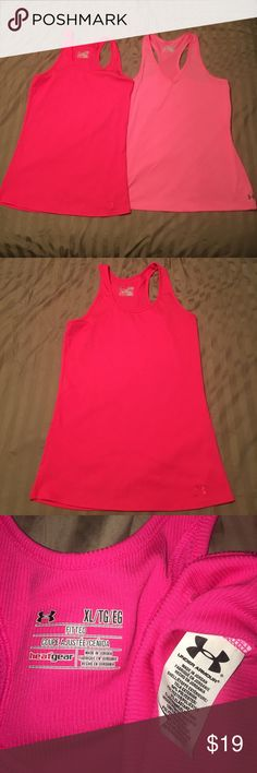 2 for 1 price! UNDER ARMOUR Tanks  quick dry Great lot- 2 women's pink heatGear, fitted Under Armour Athletic wear. Hot pink is XL/ pink is Large. 2 great quality tops for one price!! Under Armour Tops Tank Tops