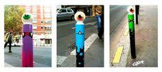 Les poteaux se transforment en cyclopes...  http://www.fubiz.net/2012/03/02/cyklop-street-art/