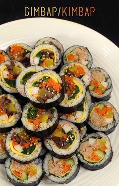 Kimbap Recipe & Video - Seonkyoung Longest Gimbap / Kimbap Recipe & Video - Asian at Home Asian Recipes, Healthy Recipes, Ethnic Recipes, Hawaiian Recipes, Seonkyoung Longest, Korean Dishes, Korean Rice, Food Videos, Food Blogs