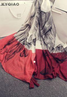 7.45 31% de réduction Aliexpress.com  Acheter KYQIAO Femmes designer hijab  écharpe de luxe marque écharpe femelle automne hiver élégant longue gris  rouge ... c67a51ec18b