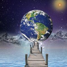 Puente hacia el planeta tierra. Photoshop, Trippy, Celestial, Outdoor, Instagram, Visual Arts, Bridge, Planets, Outdoors