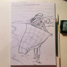 #patchwork #blanket #project365 #day245 #drawings #comic #graphics #pencil #eraser #brush #girl #beach #sketch #словодня_артскетчбук #365_артскетчбук #лоскутноеодеяло #пляж #комикс