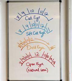 lash tech Todays lesson on the board, lash mapping! Here are four basic lash maps to style your clients eyes with Eyelash Studio, Eyelash Salon, Eyelash Curler, Eyelash Extensions Salons, Elf Make Up, Esthetics Room, Eyelash Technician, Lash Quotes, Lash Room