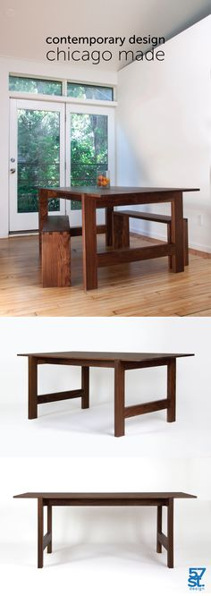 The 57st. Farmer Table is a contemporary reinterpretation of the classic farmhouse trestle table. With an eye both to efficiency of production and minimizing waste, our reimagining replaces the massively thick table top of most farmhouse tables with a visually light alternative. Available in oiled ash, cherry, walnut and white oak. Available in custom dimensions. Made in Chicago.