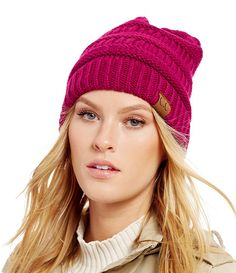 6f650e48d7ea8 Hot Pink Ribbed Knit CC Beanie Hat