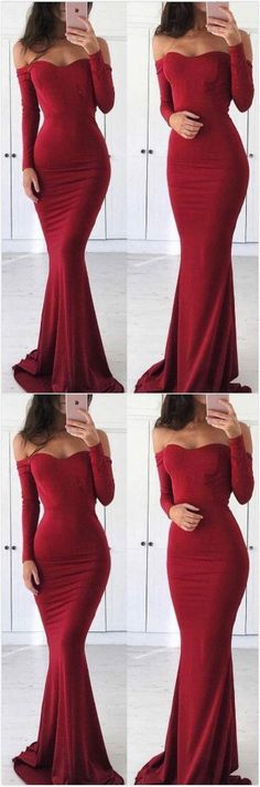 Off Shoulder Prom Dress, Long Sleeve Prom Dress, Burgundy Prom Dress, Simple Mermaid Prom Dress 0242 by RosyProm, $145.99 USD