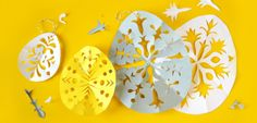 Easter paperdecorations I made to magazine Kodin Kuvalehti Cool Diy, Decorative Plates, Easter, Cool Stuff, Tableware, How To Make, Kids, Crafting, Magazine