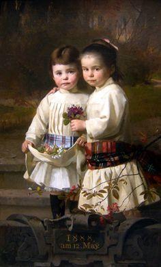 Two Children In A Park Landscape-Heinrich Lauenstein (1835 – 1910, German)