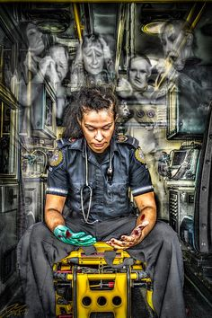 I had the idea for this image recently while having a busy shift on the ambulance. We were dealing with several high acuity calls when we were called to a simple hospital transfer. I was thinking that if our patient knew what had happened on the stretcher she was sitting on just moments ago she wouldn't be as at ease with where she was. I then starting thinking of all the things that happen in the back of my ambulance when I'm not on shift. ...If these walls could talk.
