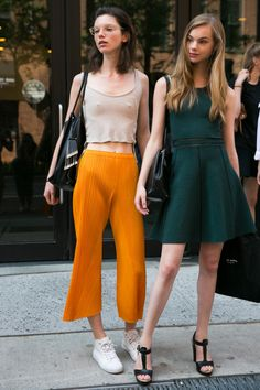 Estella Boersma (right) on the street at NYFW. Photo: Emily Malan/Fashionista.