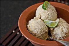 Perfectly delectable, creamy and refeshing Key Lime & Vanilla Buttermilk Ice Cream