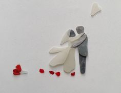 Bespoke bride & groom pebble and sea glass art pictures